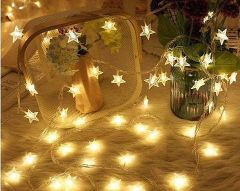 50 Large Stars Fairy Lights - Warm White - 3 meters - Battery Operated + USB - ThePeppyStore
