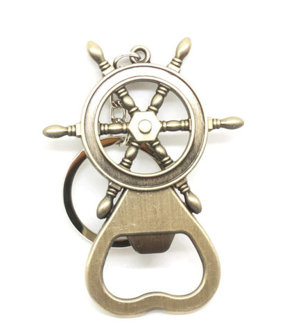 Shiny Ship Steering Wheel Shaped Bottle Opener Keychain