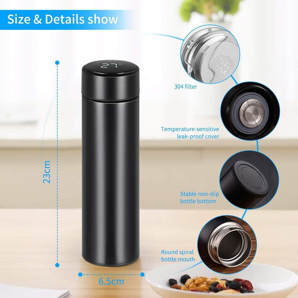 Smart LED Active Temperature Display Indicator Insulated Stainless Steel Hot & Cold Flask Bottle (Black, 500ml)