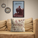 HARRY POTTER INFOGRAPHIC RED SATIN CUSHION COVER - ThePeppyStore