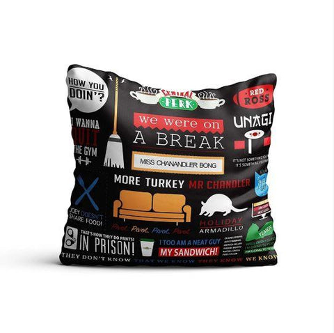 FRIENDS TV SERIES INFOGRAPHIC SATIN CUSHION COVER WITH FILLER - ThePeppyStore