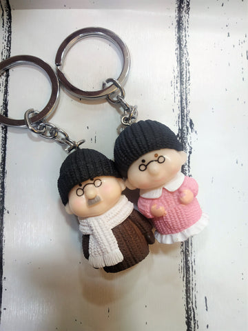 Old Cute Couple Keychain - Set Of 2