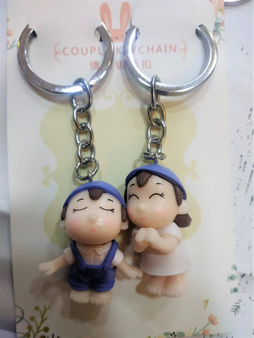 Blue Cute  Couple Keychain - Set Of 2