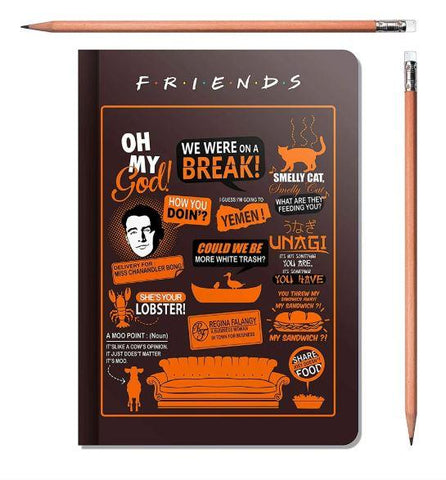 FRIENDS- ORANGE BINDED NOTEBOOKS - ThePeppyStore
