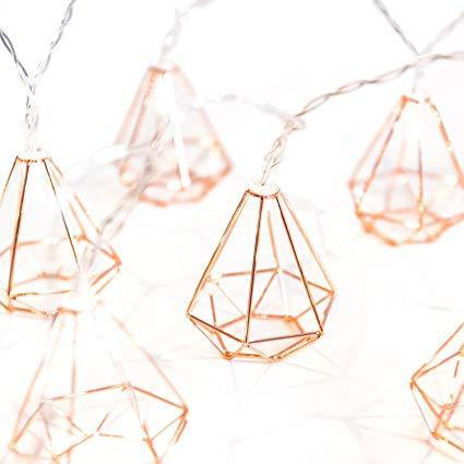 Diamond String Lights - 3AA Battery + USB Operated | Rose Gold - ThePeppyStore