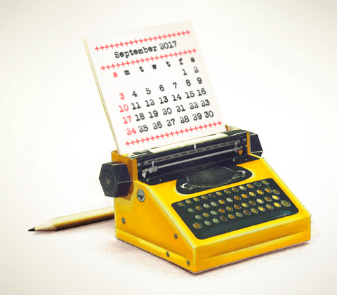 DIY Yellow Typewriter Desk Calendar 2018 & 2019