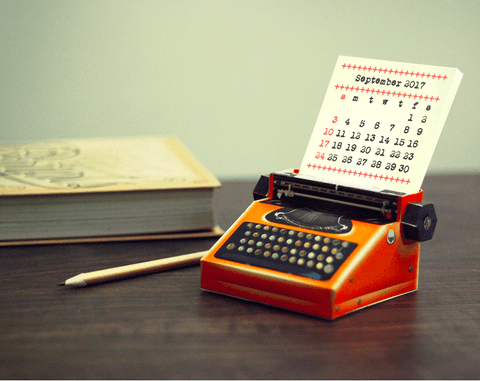 DIY Orange Typewriter Desk Calendar 2018 & 2019