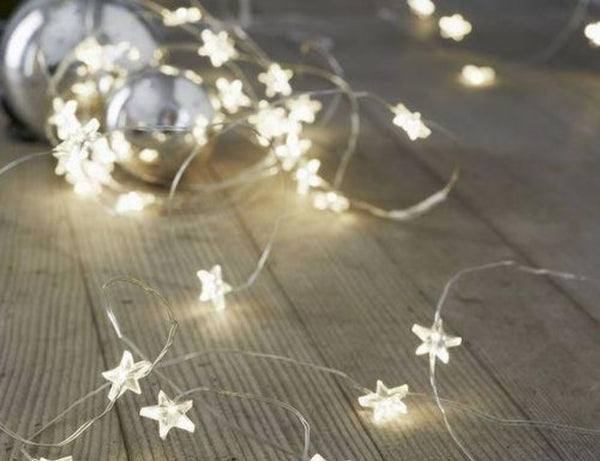 Star shape Fairy Lights - Warm White - 3 meters - Battery Operated - ThePeppyStore