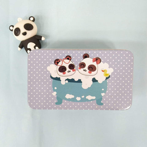 Panda Blue Mini Tin Box - ThePeppyStore