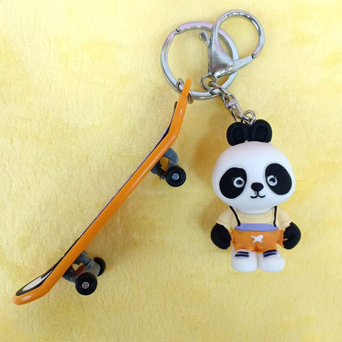 Cute Panda With Skateboard Keychain - ThePeppyStore