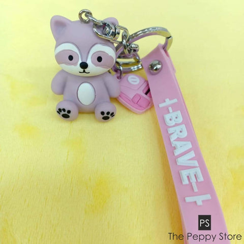 Cute Baby Squirrel Keychain Lavender