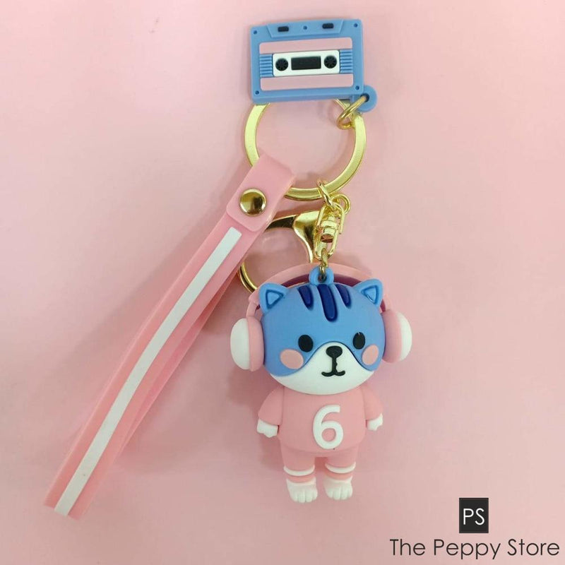 Cute Cat Keychain Blue And Pink