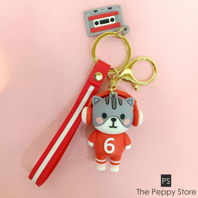 Cute Cat Keychain Grey And Red