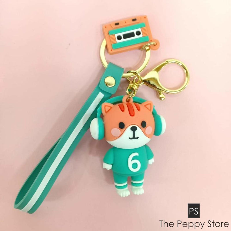 Cute Cat Keychain Peach And Green