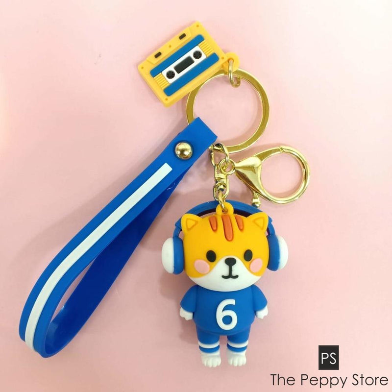 Cute Cat Keychain Yellow And Blue
