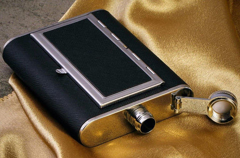 Stainless Steel Hip Flask with Cigarette Case - ThePeppyStore