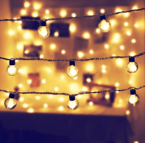 Clear Globe Decorative String Lights | Warm White LED ( 10 globes ) - ThePeppyStore