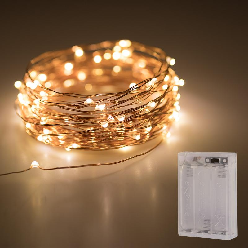 Golden Wire Fairy Lights - Warm White - 5 meters - Battery Operated - ThePeppyStore