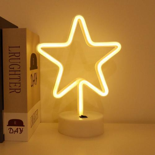 Star neon Led Lamp | Battery & USB Operated | (Warm White) - ThePeppyStore