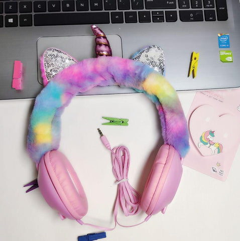 Cute Unicorn Furry  Headphones - ThePeppyStore