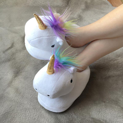 Unicorn Slippers -  White - ThePeppyStore