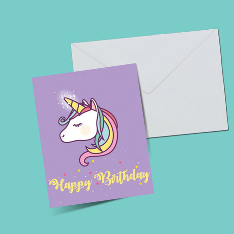 Unicorn birthday card - ThePeppyStore