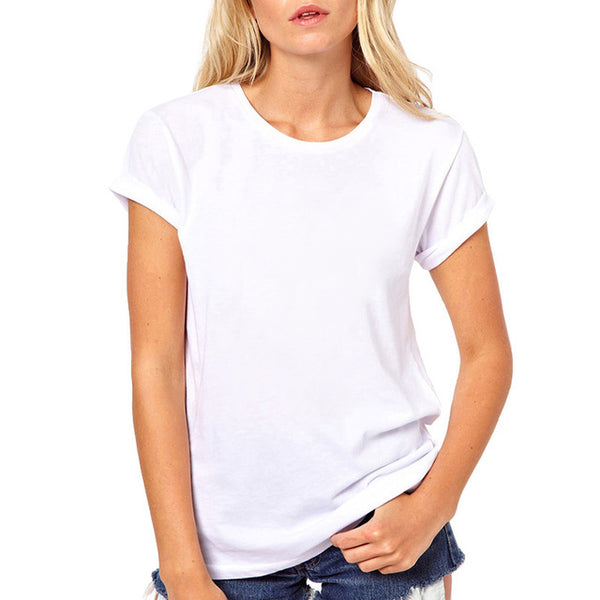 FIXSYS Women T Shirt Print Tee Shirt O-Neck Tops Tees Summer Style Female T-Shirt Fashion Ladies Funny T-shirts White Tees