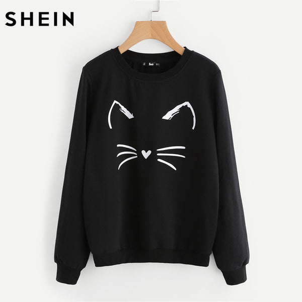 SHEIN Cartoon Cat Print Sweatshirt Long Sleeve Casual Women Pullovers Black Round Neck Cute Sweatshirt for Women