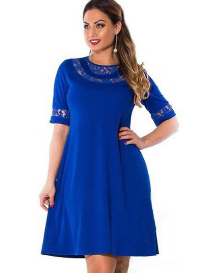 Plus Size Half Sleeve Patchwork Women's Day Dress