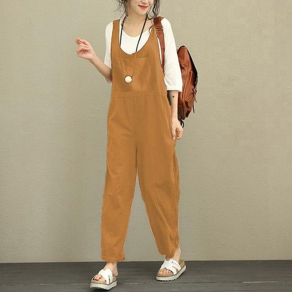 Plus Size 5XL Celmia Rompers Women Jumpsuit 2018 Summer Overalls Casual Loose Sleeveless Backless Playsuits Oversized Long Pants