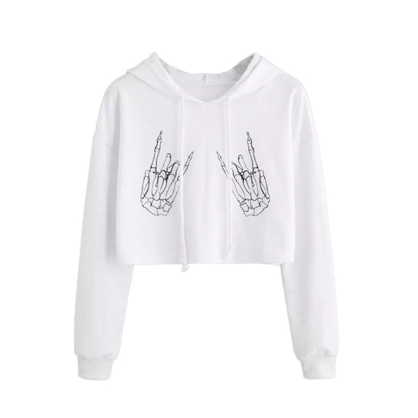 New Arrival Women Halloween Bone Print Sweatshirts  Casual Long Sleeve Shirt Hooded Sweatshirt