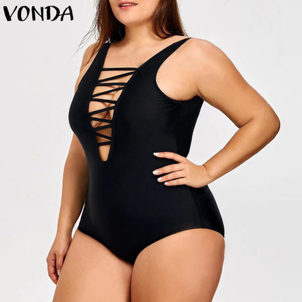 2018 Summer Rompers Womens Jumpsuit Bandage Bodysuits Sexy Deep V Neck Sleeveless Plus Size Dodycon Hollow Out Swimwear Black