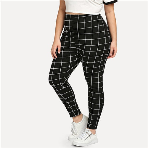 SHEIN Black And White Plaid Plus Size Mid Waist Women Leggings Autumn Winter Grid Print Long Casual Legging