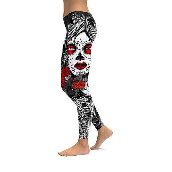 Alisister Skull Leggings Women's 3d Hip Hop  Halloween Legging Digital Print Pants Trousers Stretch Fitness Workout Joggers