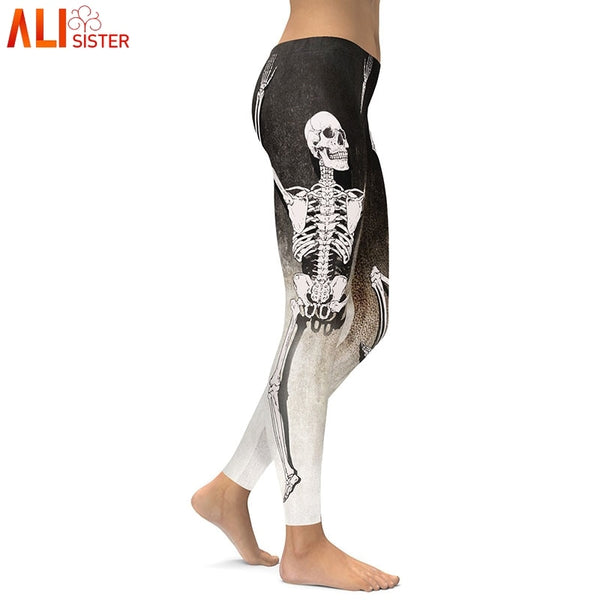 Alisister 2018 Autumn Winter Leggins Halloween Sugar Skull Leggings Women Girl Rose Print Fantastic Workout Party Ankle Pant