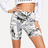 SHEIN Modern Lady Black and White Allover Letter Print Cycling Crop Short Leggings 2018 Summer Modern Lady Women Pants Trousers