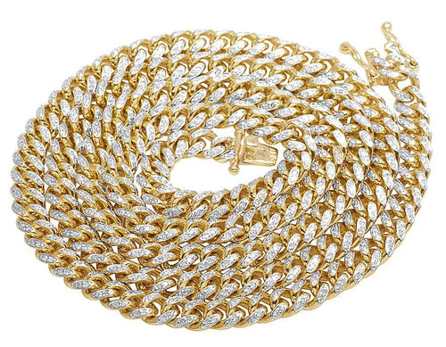 Solid Yellow Gold Diamond 5.5 MM Miami Cuban Link Necklace 3.5 CT 26