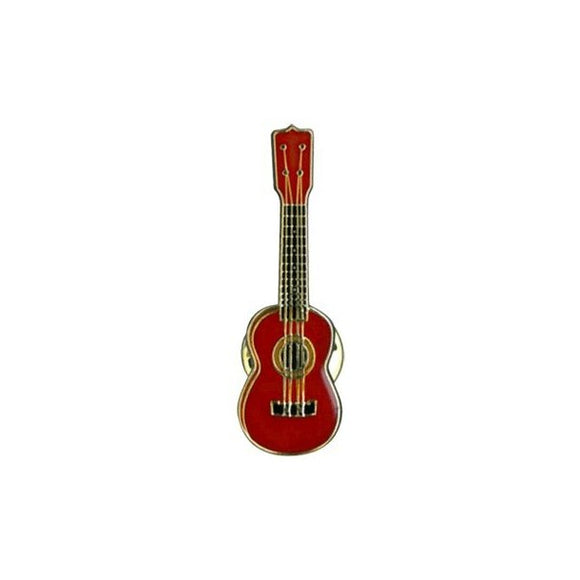 Ukulele Badge Red Vintage with clip back