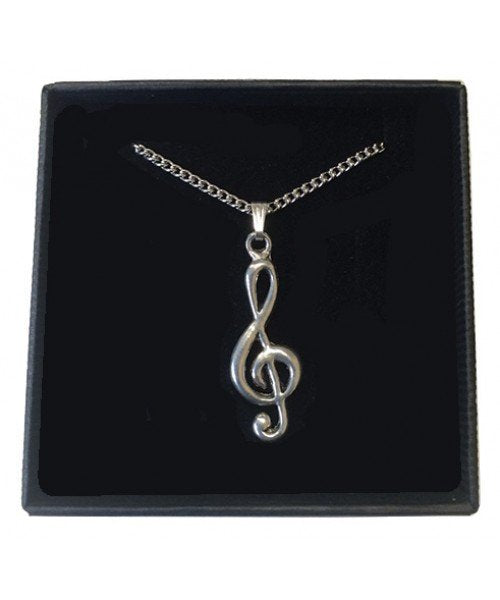 Treble Clef Pewter Pendant on chain
