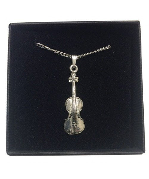 Pewter Violin Pendant and Earrings SET