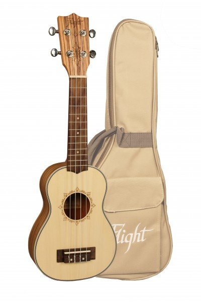 FLIGHT DUS320 SOPRANO UKE SP/ZEB W/BAG Spruce/zebrawood