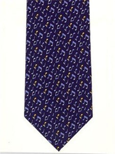 Tie Studio Blue/Yellow notes on Navy Silk