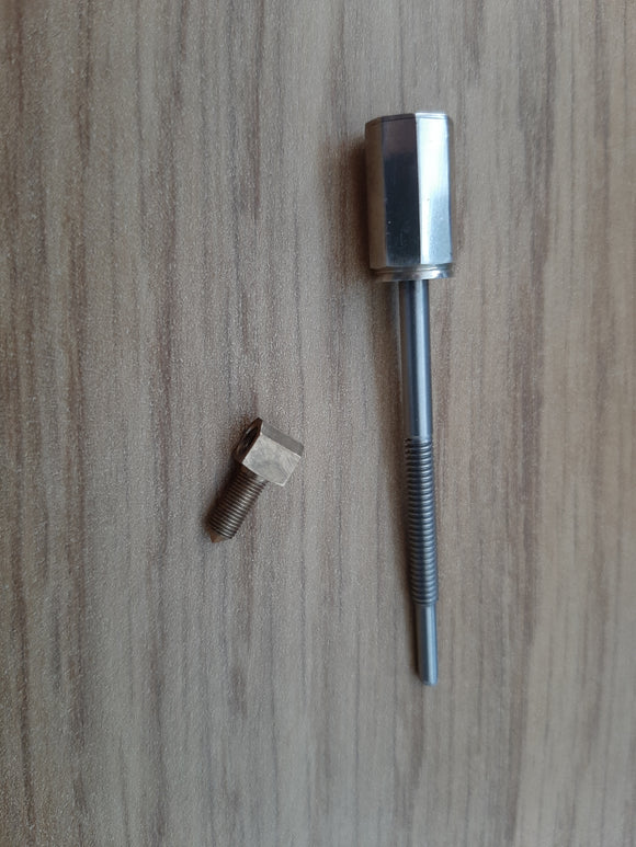 Silver 4/4 screw and eyelet for violin bow refitting/repairing