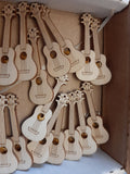 Ukulele wooden badge / pin, laser cut, highly detailed, gold clasp