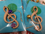 NEW! Xmas tree ornaments Treble Clef, with real mini jingle bell