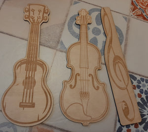 Wooden Bookmarks Ukulele, Violin, or Treble Clef