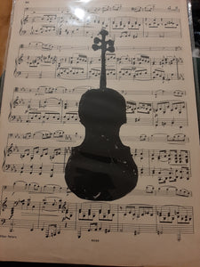 """VIOLIN ON VINTAGE SHEET MUSIC"" Hand cut hand printed Lino Cut Prints"