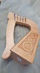 5 string miniature gift Harp Lacewood