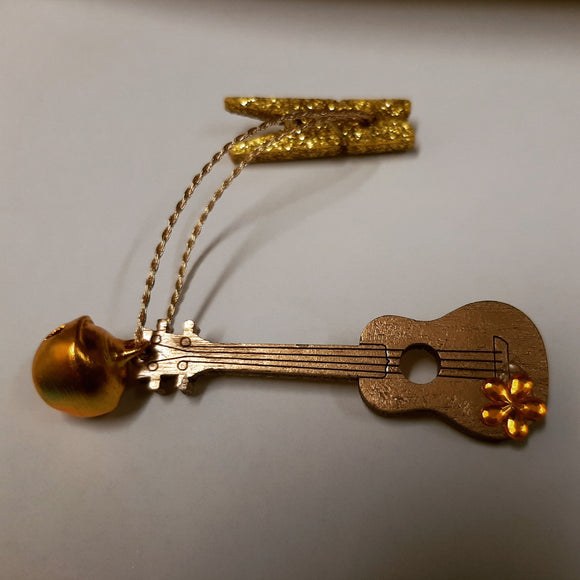 New!! Ukulele Xmas Tree Ornaments Gold