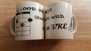 "Ukulele Mug Music Gift Novely ""G"" Chord and ""C"" Chord Designs EXCLUSIVE"